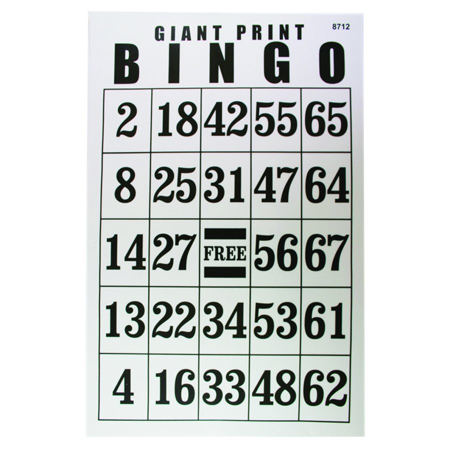 Jumbo Laminated Bingo Card