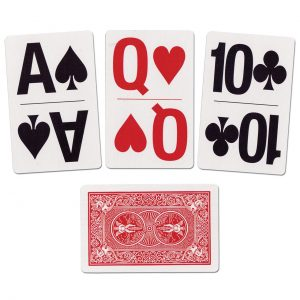 Large playing cards. Three are face up and show Ace of Spades, Queen of Hearts and 10 of Clubs. Another card is face down.