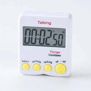 "Talking Kitchen Timer from the front. The display reads ""00:02'50"". Four yellow buttons are under the screen."