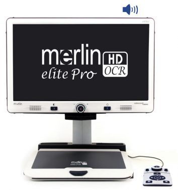 "Merline Elite Pro from the front. The words ""Merlin Elite Pro HD OCR"" are on the screen."